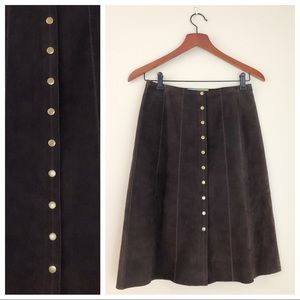 BETH BOWLEY BROWN LEATHER SKIRT